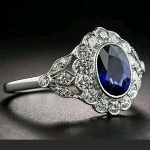 Jewelry - New Sapphire cz 925 silver ring